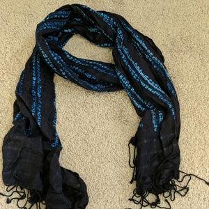 Blue tie-dye scarf